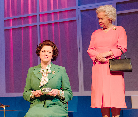 "Caroline Harker as liz and Susan Penhaligon as the Queen, ""Q"", in Handbagged at Oldham Coliseum"