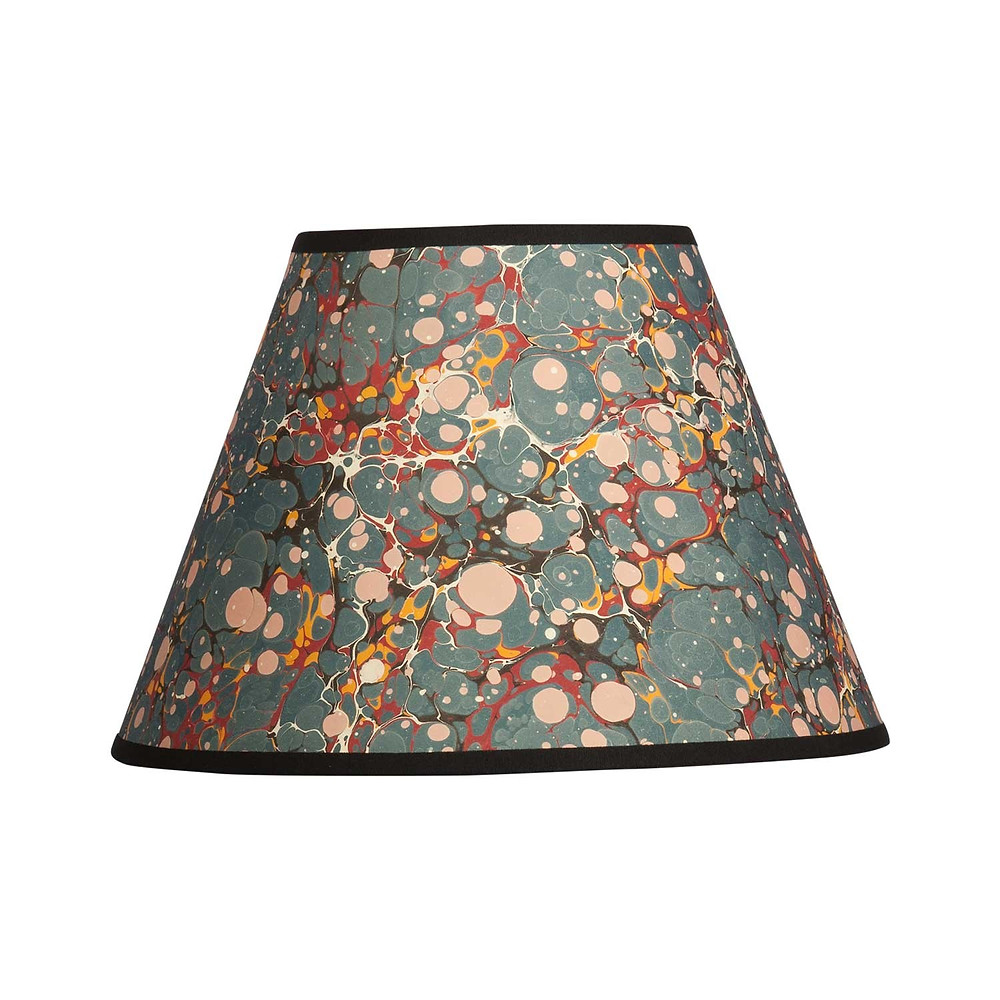 painted lampshade, blue lampshade, pattern, color, spotted, fun interior design elements