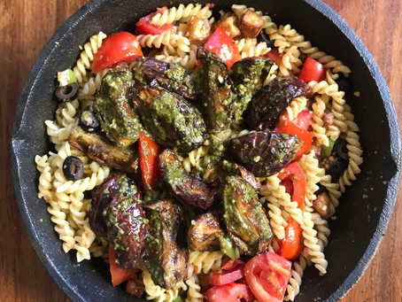 Fusilli Pasta with aubergines tomatoes, cottage cheese and pesto.  #healthy #homecooked #vegpasta