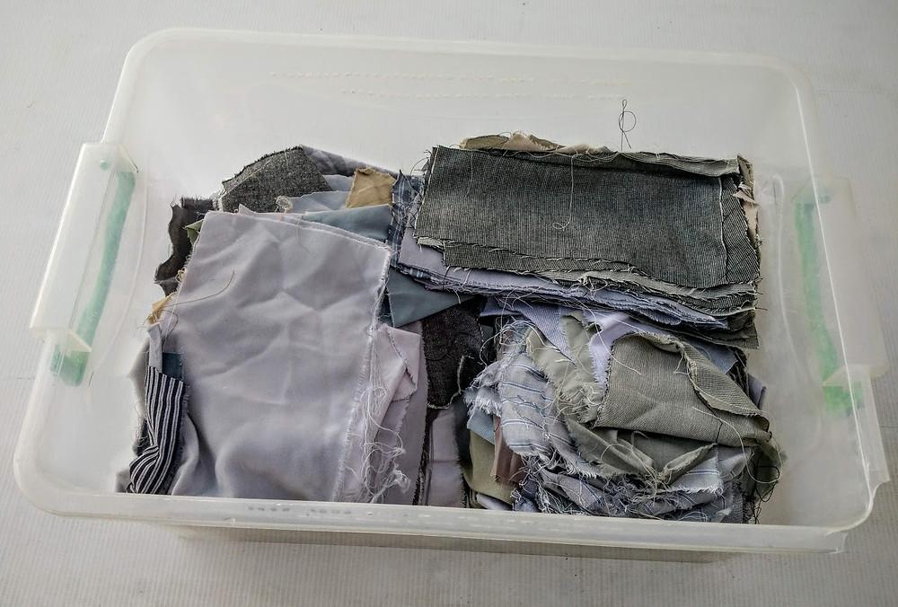 Winter fabrics in platic box