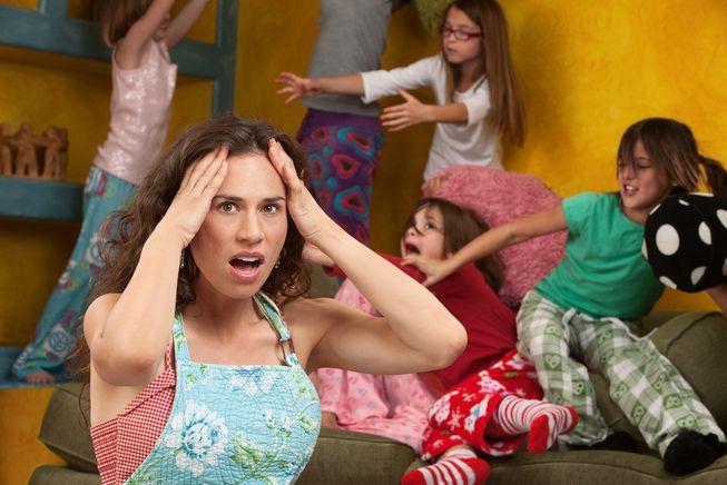 Stressed mom homeschooling kids