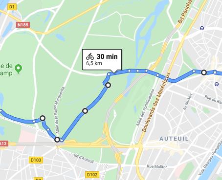 Itinéraire - Saint-Cloud - Paris