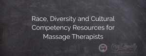 """Blackboard with """"Race, Diveristy and Cultural Competency Resources for Massage Therapists"""" written, along with NoVA Weekend Warriors and Meg Donnelly LMT logos in lower right corner"""