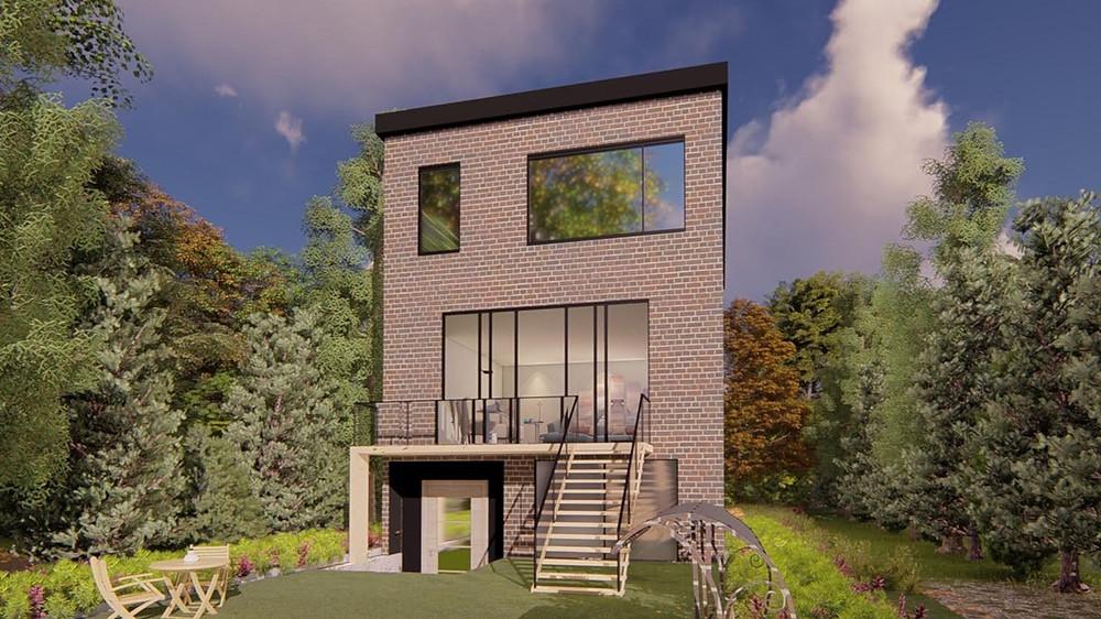 Rear elevation modern city house