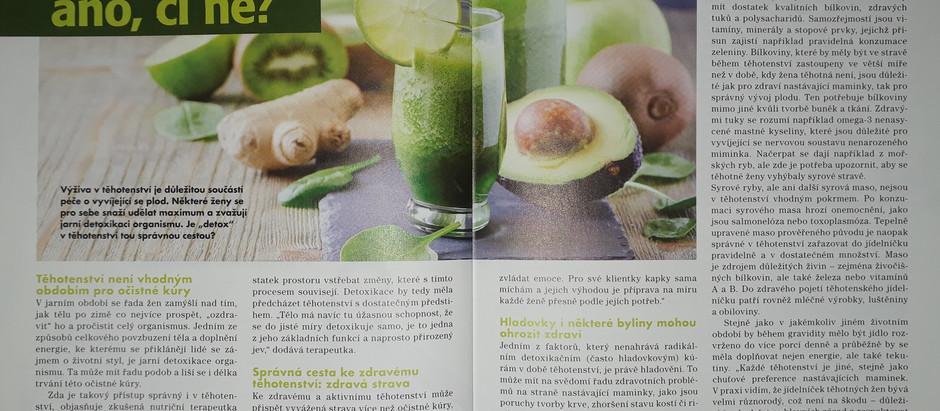 Článek o detoxikaci v těhotenství právě vychází v časopisu Miminko