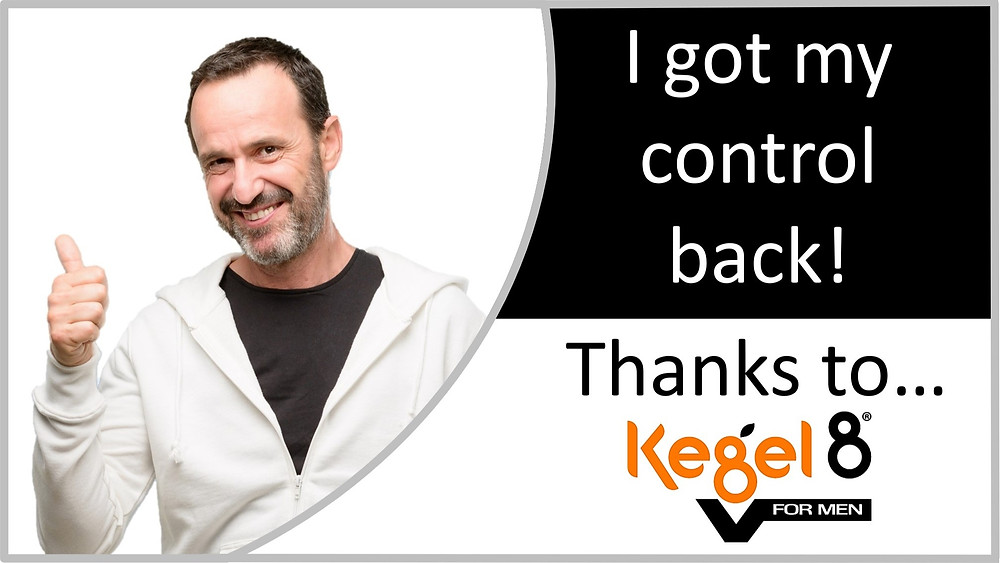 A Man with thumbs up for the Kegel8 V for Men pelvic floor exerciser