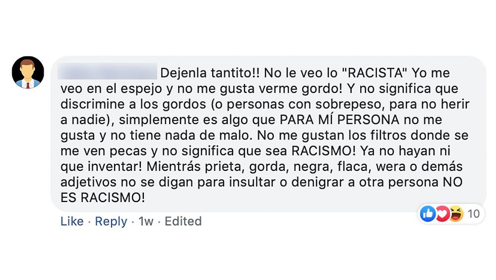 Comentario en Facebook.