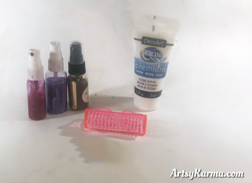 supplies to make texture with a scrub brush
