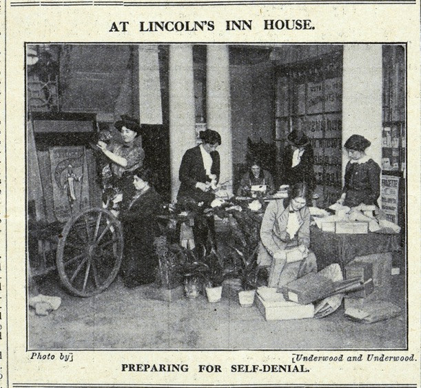 Image from The Suffragette showing preparations for Self Denial Week at Lincolns Inn House. The National Archives, catalogue reference: ASSI 52/212.