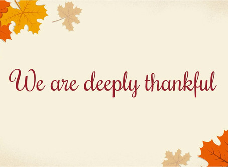We are thankful...