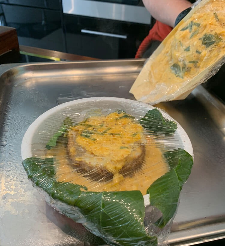 crumpetorium's ginger crumpets in thai hor mok recipe