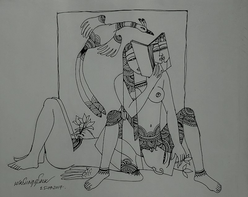 This is a modern representation series of Kamasutra by artist Krishna Ashok in the year 2017. It brings along intersection for contemporary worlds, both Indian and non-Indian: sex and ancient India.