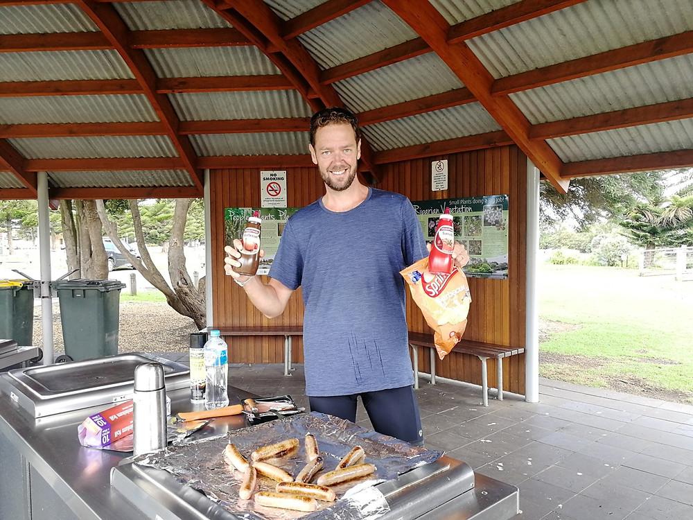 Tour du monde à vélo en famille barbecue Australie