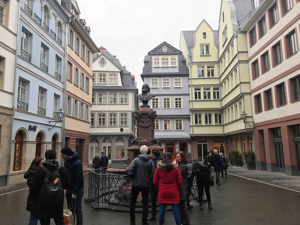 Old town street in Frankfurt Germany with colourful buildings