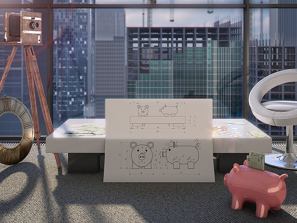 Photorealistic marketing 3D Rendering with the money pig