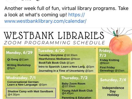 Westbank Zoom Schedule