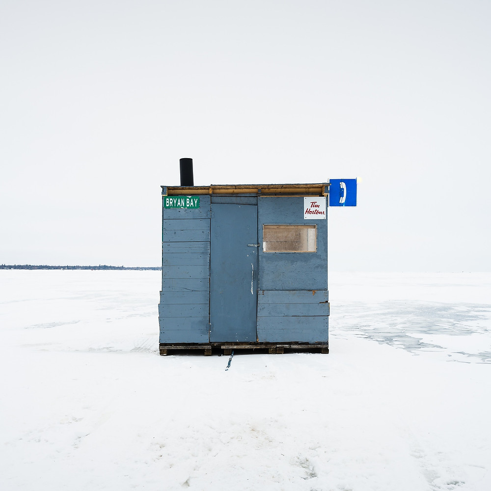 Ice Fishing Huts, Lake Winnipeg by Sandra Herber