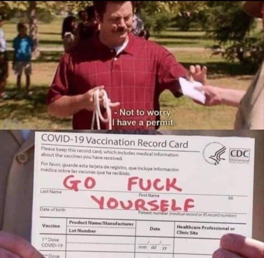 Covid Vaccination Card - Go Fuck Yourself Meme & Many More Vaccination Memes!