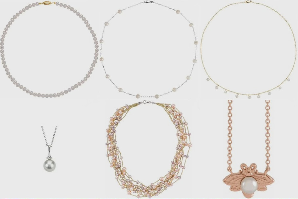 selection of pearl necklaces and pearl pendants on white background
