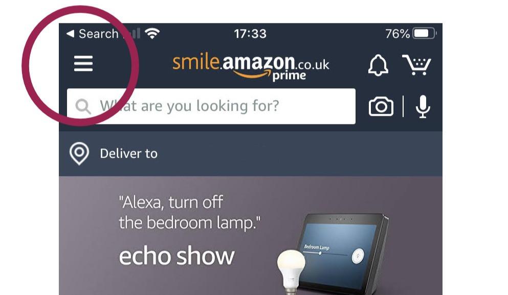 Amazon Smile iPhone Settings Option