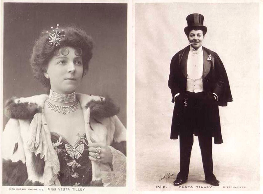 Vesta Tilley dressed as a women and as man in her stage act