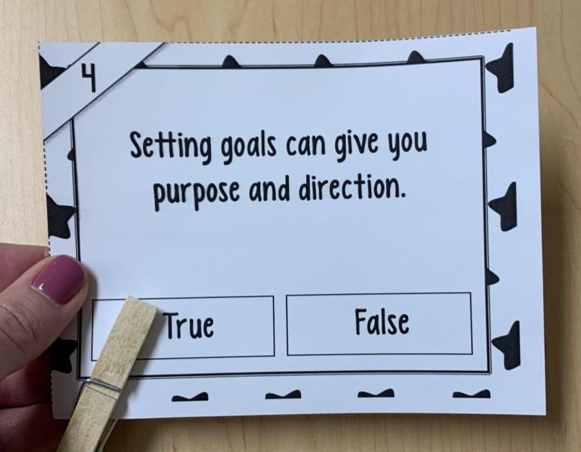 Black and white goal setting task card
