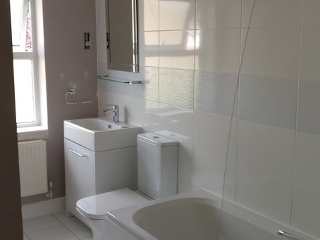 Bathroom replacement almost finished! Customer doing the painting