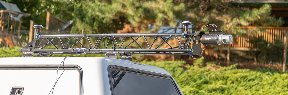 Routescene LidarPod mounted on a vehicle with the Routescene vehicle mounting kit