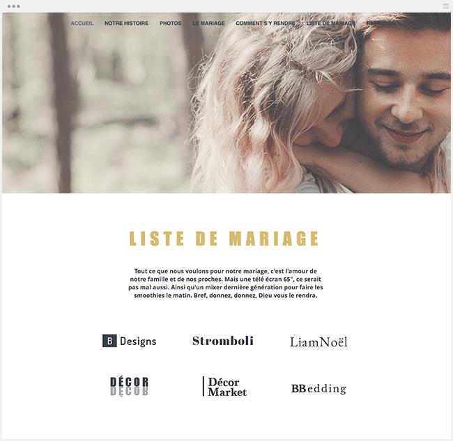 exemple de site de mariage avec liste de mariage