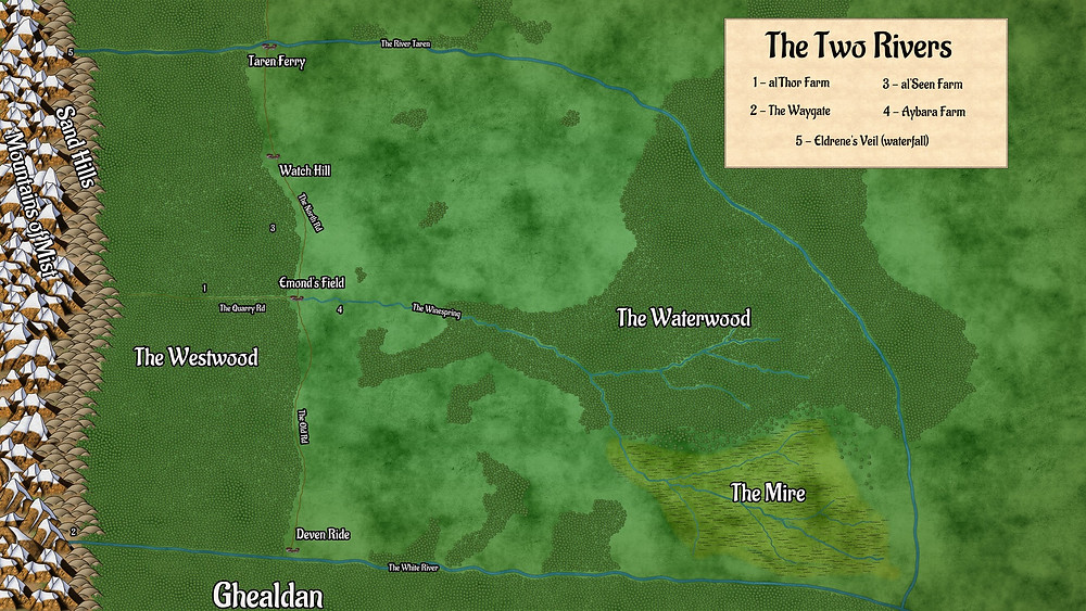 A Map of The Two Rivers from The Wheel of Time