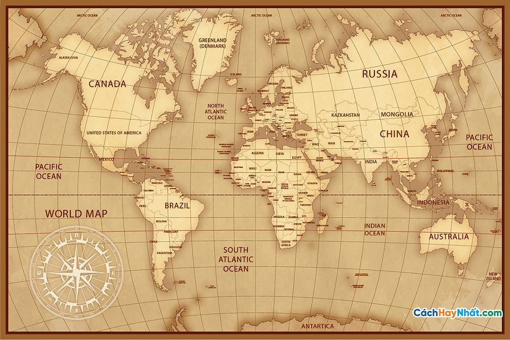 Bản Đồ Thế Giới drawing concept for vintage world map