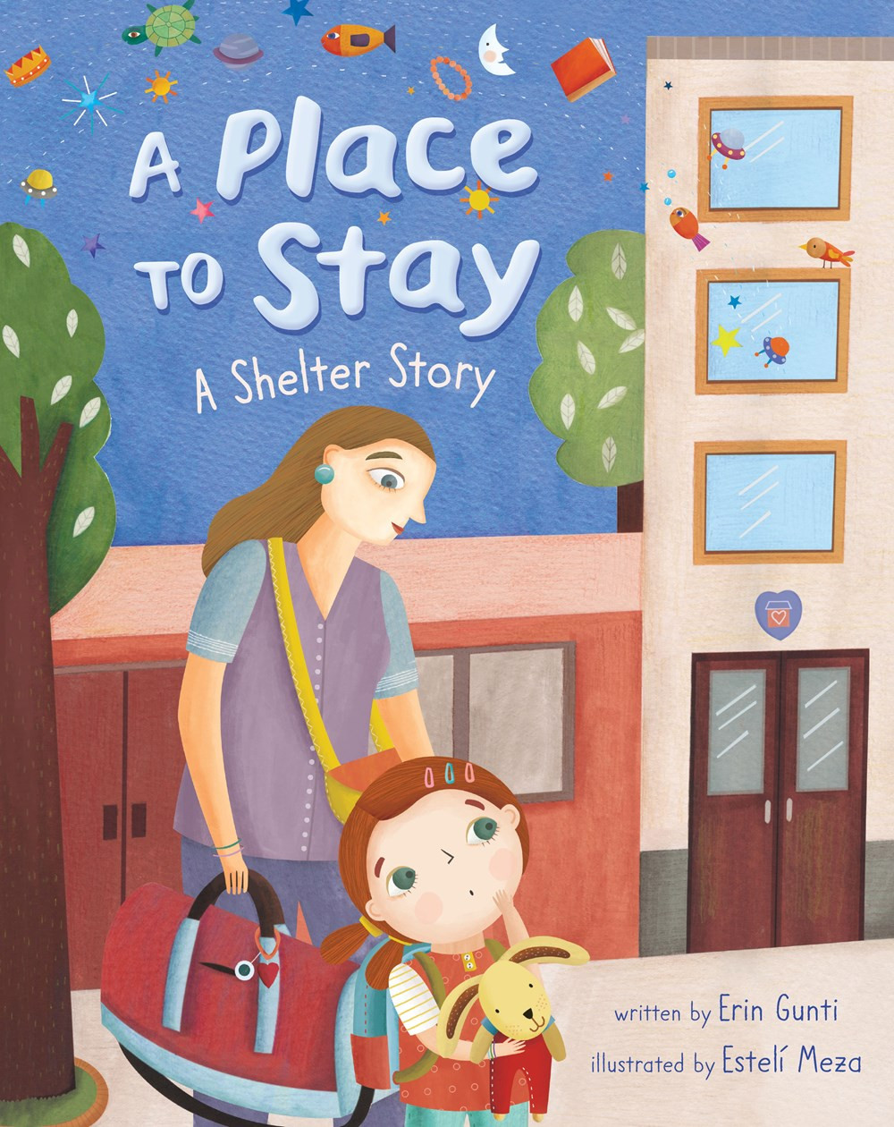 "Cover of picture book ""A Place to Stay: a Shelter Story"" showing a mom and a child on a sidewalk with luggage"
