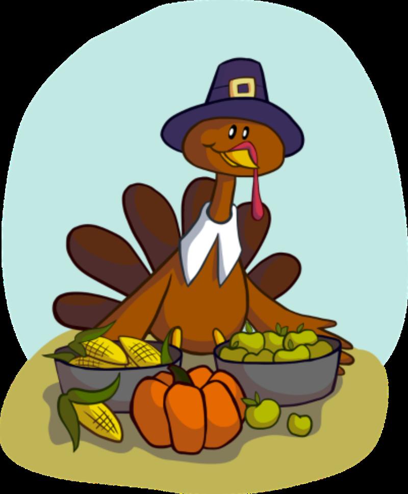Pilgrim Turkey presenting a feast.