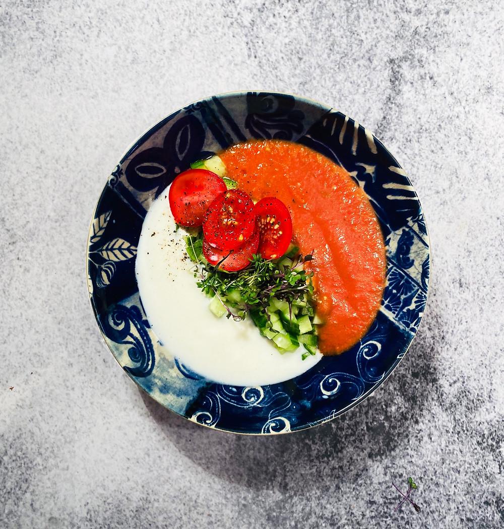pomidorų sriuba, šalta pomidorų sriuba, pomidorinė, Alfo receptai