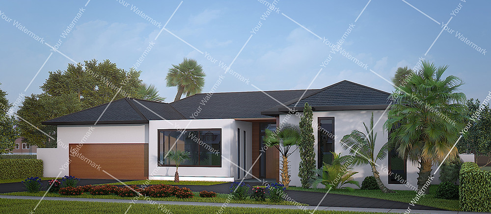 Exterior 3D rendering with the watermarks