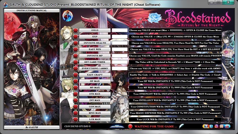 Bloodstained Ritual Of the Night, Software, cloudend studio, galth, cheat, trainer, code, mod, software, steam, pc, youtube, tricks, engaños, トリック, 騙します, betrügen, trucchi, pokemon, dragon ball xenoverse, playerunknown's battlegrounds, fortnite, counter strike, ign, multiplayer.it, eurogamer, game source, final fantasy, dark souls, monster hunter world, nintendo, ps4, ps5, xbox, nba, blizzard, world of warcraft, twich, facebook, windows, rocket league, gta, gta 5, gta 6, call of duty, gamesradar, metacritic, collector edition, anime, manga, fifa, pes, f1, game, instagram, twitter, streaming, cheat happens, One Piece World Seeker, Naruto, dragon ball project z, dota, devil may cry 5, трюки, трюкинасамокате, трюки, tricher, カンニング竹山, カンニング, 사기, 사기샷, 사기꾼, 作弊, 騙子, 사기꾼, 사기꾼조심, 사기꾼들, betrüger, oszustwo, oszust, 22/06/2019,