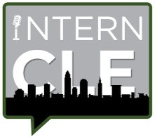 "InternCLE logo. Gray square speech bubble outlined in green. Inside the speech bubble: The I in ""Intern"" is a mic. Underneath is a bold ""CLE"" behind a black Cleveland skyline."