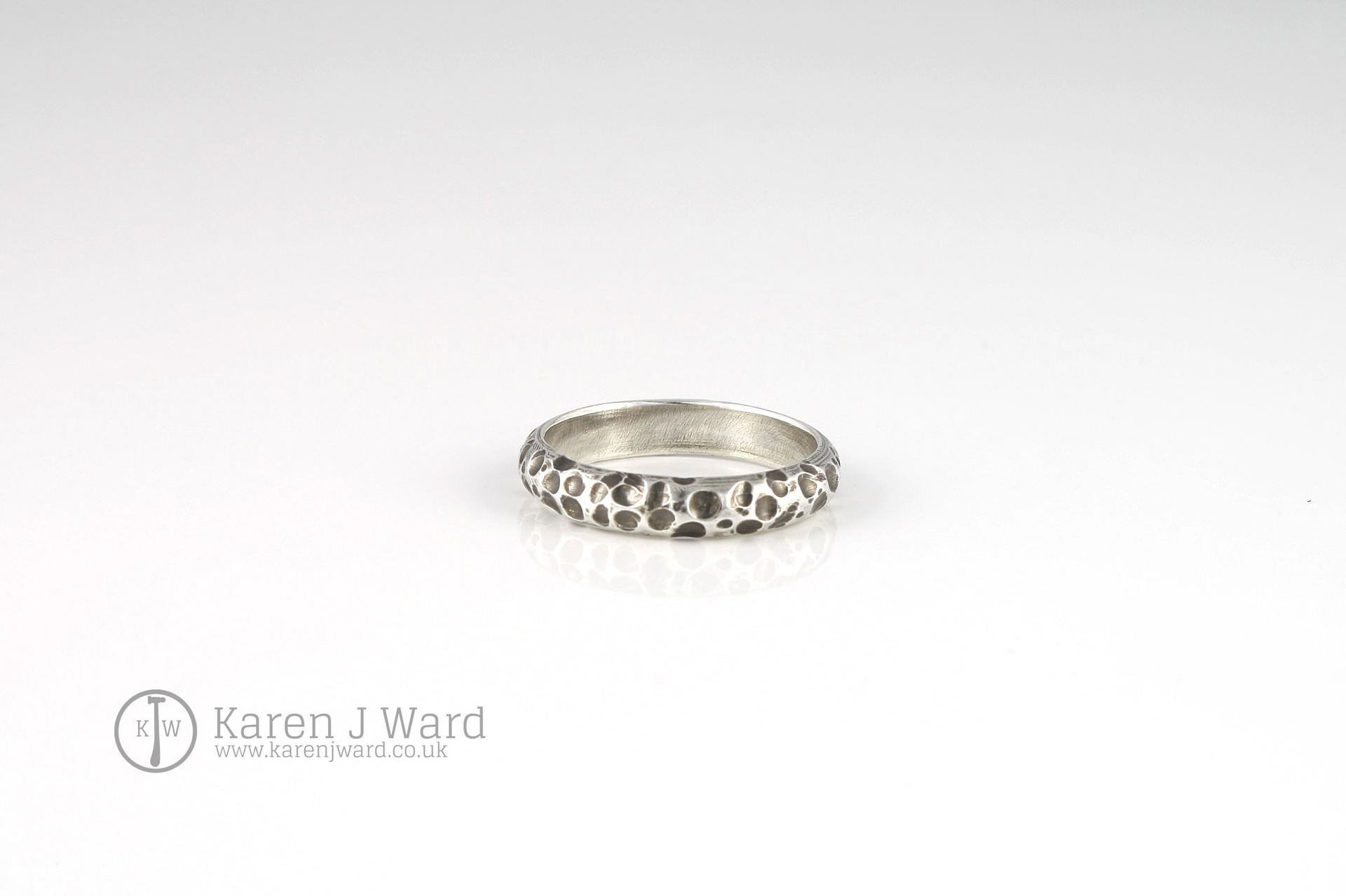 OXIDISED STERLING SILVER RING ORGANIC CRATER TEXTURE