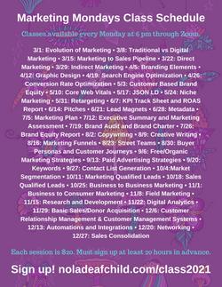 Marketing Mondays Class Schedule 2021