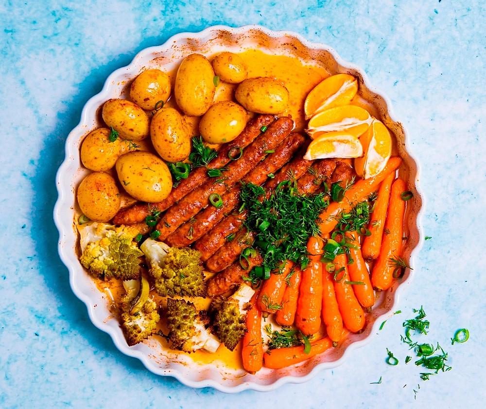 keptos dešrelės skardoje su daržovėmis, Alfo receptai
