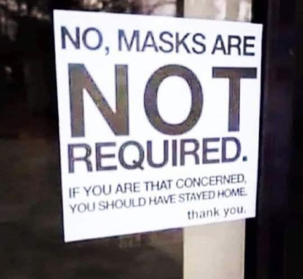 No, Masks are not Required Sign