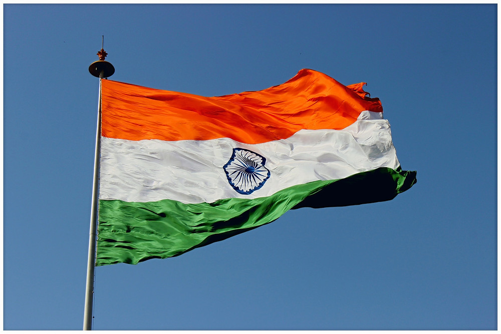 Indian National Flag is a horizontal tricolor. Deep saffron at the top, white in the middle and the dark green at the bottom in equal proportion. national flag image of India, national flag color, national flag colour,
