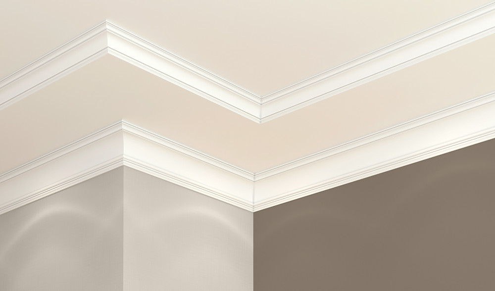 Close up view of a wall and ceiling surface