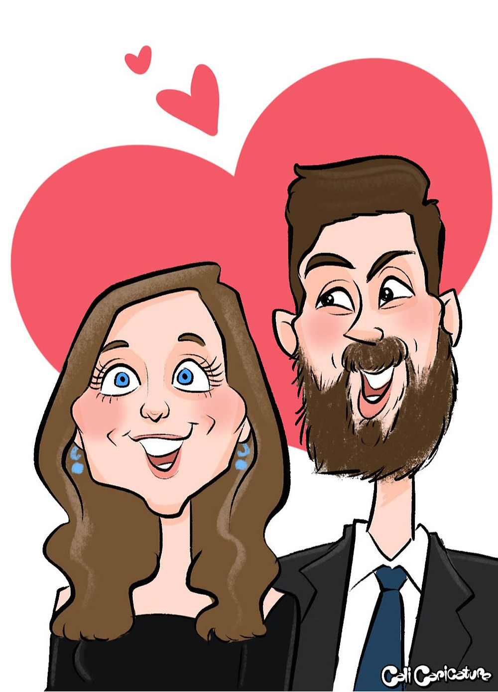 engagement proposal caricature romantic love hearts couple cute couples marriage caricatures art cartoon faces portrait engaged