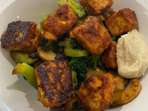 pan fried honey garlic tofu with veg stir fry
