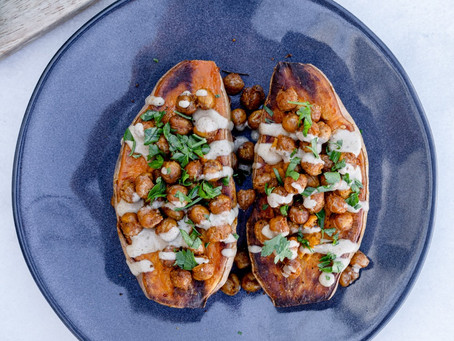 Baked Sweet Potatoes with Crunchy Chickpeas & Tahini