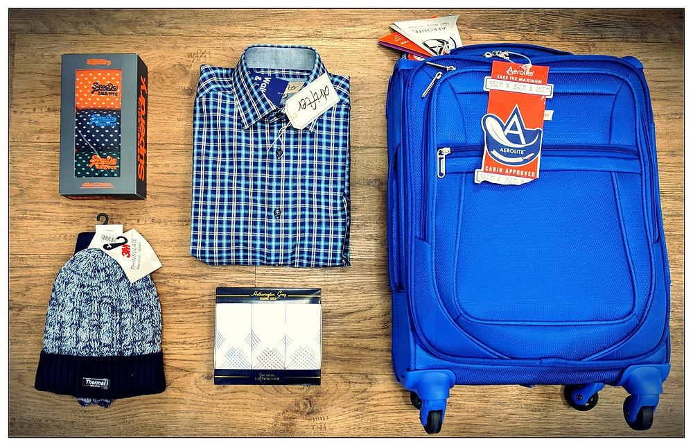 gifts for him socks hat gloves shirt handkerchiefs suitcase luggage