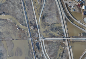 High resolution aerial imagery of flooding near Crow Agency, Montana