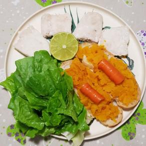 Merluzzo e tartine di zucca
