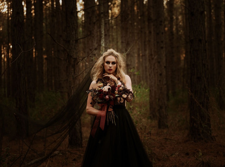 The Girl in The Woods, Styled Shoot, Oh Hello Bride, Wedding Gown, Brisbane, Black Wedding Dress